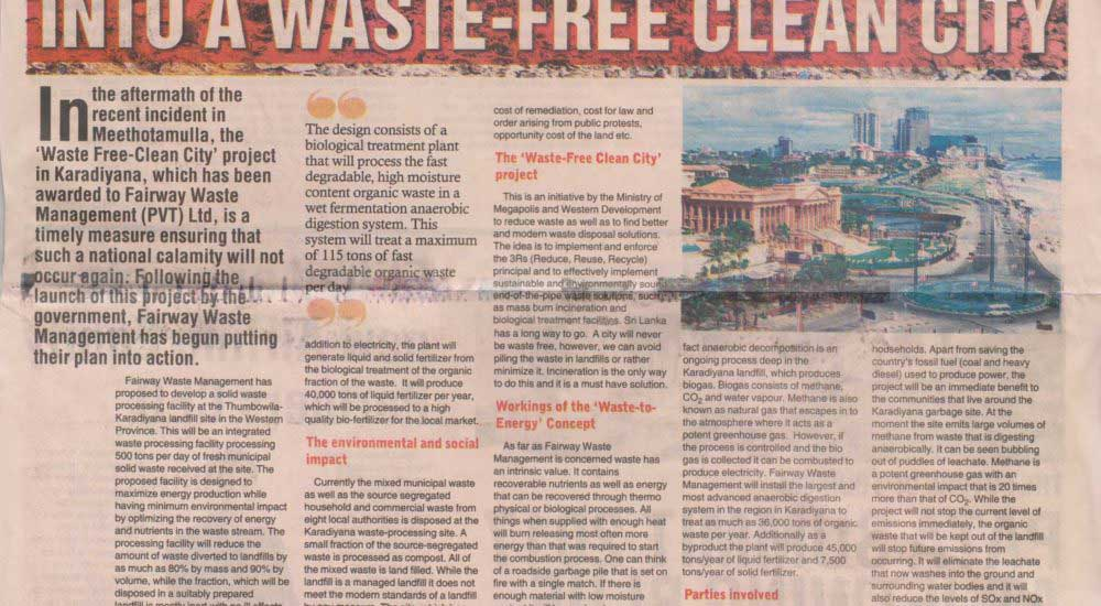 Transforming Colombo Into A Waste Free Clean City